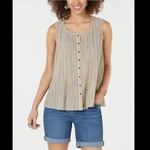 STYLE&CO COTTON STRIPED BUTTON FRONT TOP
